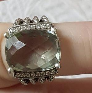David Yurman Wheaton Prasiolite and Diamonds Ring